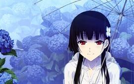 Menina vermelha do anime dos olhos, guarda-chuva, chuva, flores