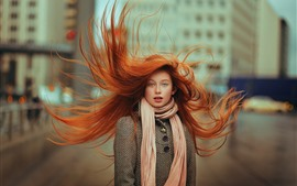 Red hair girl, blue eyes, hair flying