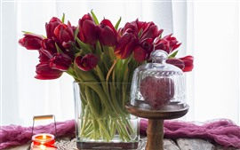 Preview wallpaper Red tulips, candle, pink silk