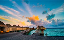Aperçu fond d'écran Resort, bungalows, mer, tropical