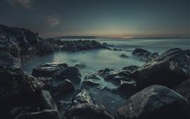 預覽桌布 岩石, 霧, 海, 黃昏