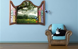 Preview wallpaper Room, cat, chair, window, butterfly, creative picture