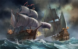 Preview wallpaper Sailboats, sea, waves, battle, art picture
