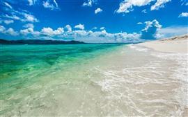 Mar, praia, areias, água, céu azul, nuvens
