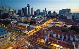 Singapore, Chinatown, cidade, arranha-céus, casas