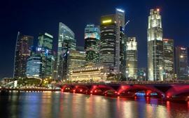 Сингапур, город ночью, река, небоскребы, мост, огни
