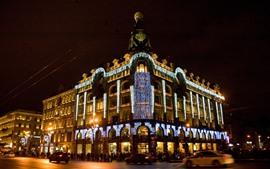 Casa del cantante, San Petersburgo, iluminación, noche de la ciudad, Rusia
