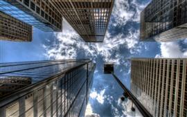 Небоскребы, город, вид снизу, небо, облака