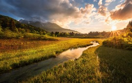 Preview wallpaper Slovenia, Julian Alps, river, grass, trees, clouds, sunset