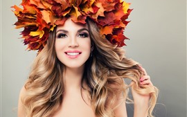 Preview wallpaper Smile girl, maple leaves, head decoration