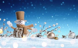 Preview wallpaper Snowman toy, snow, Christmas decoration
