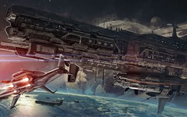 Preview wallpaper Spaceship, space, planet, sci-fi art picture