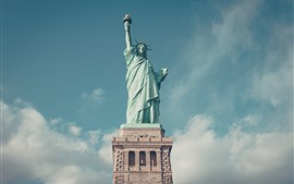 Preview wallpaper Statue of Liberty, blue sky, clouds, USA