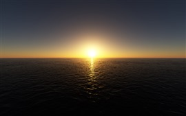 Sunrise, sea, horizon