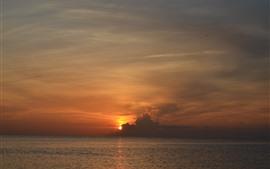 Puesta de sol, nubes, cielo, mar, oscuridad, paisaje de la naturaleza