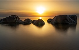 Sunset, sea, rocks, nature landscape
