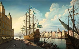 Preview wallpaper Sweden, Stockholm, ship, city, river, art painting