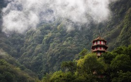 Preview wallpaper Taroko Gorge, Taiwan, tower, trees, fog