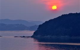 Tatsuno, Japão, Rio, montanhas, por do sol