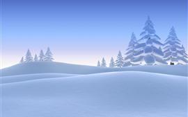 Neve espessa, árvores, inverno, imagens de arte