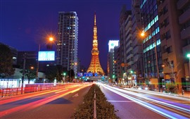 Preview wallpaper Tokyo Tower, Japan, night, road, illumination