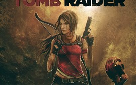 Preview wallpaper Tomb Raider, Lara, gun, skull