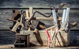 Preview wallpaper Toolbox, tools, wood board