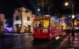 Tram, night, city street, lights