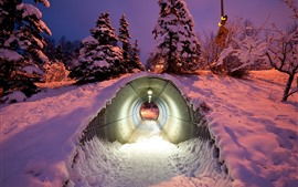 Preview wallpaper Tunnel, snow, winter, night