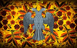 Preview wallpaper Two heads eagle, flowers, berries, art pictures