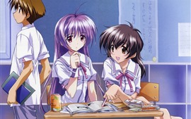 Preview wallpaper Two schoolgirls, classroom, anime