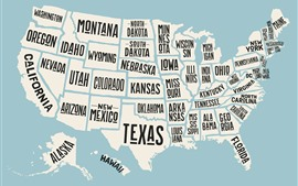Preview wallpaper USA map, state name, creative picture