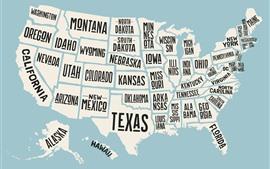Карта США, название штата, креативная картинка