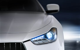Preview wallpaper White Maserati front view, headlight