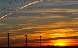 Moinho de vento, pôr do sol, céu, nuvens