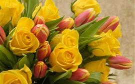 미리보기 배경 화면 노란 장미와 붉은 튤립