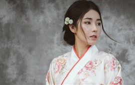 Preview wallpaper Beautiful Japanese girl, young woman, kimono