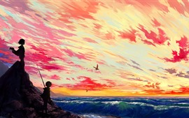 Preview wallpaper Beautiful anime picture, girl and boy, sea, clouds, sunset