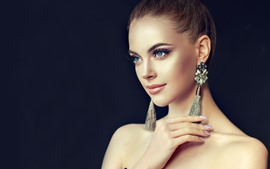 Preview wallpaper Beautiful fashion girl, hairstyle, earring, smile