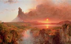 Paisaje hermoso de la naturaleza, montañas, humo, puesta del sol, cascada, pintura al óleo