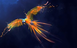 Preview wallpaper Beautiful parrot, paint, wings, flight, art picture, creative