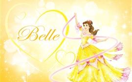 Belle, princesa, coração de amor, saia amarela, anime menina da Disney