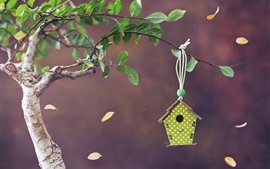 Preview wallpaper Birdhouse, twigs, leaves