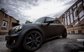 Black Mini Cooper car side view