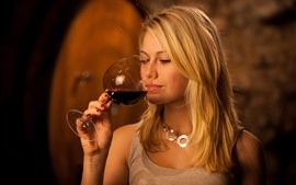 Preview wallpaper Blonde girl drink red wine