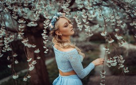 Preview wallpaper Blonde girl in spring, flowers blossom, tree, twigs