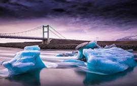Gelo azul, rio, ponte