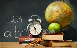 Books, alarm clock, glasses, globe, apple, pencil, classroom