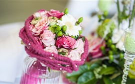 Букет, цветы, ваза, роза, ромашка