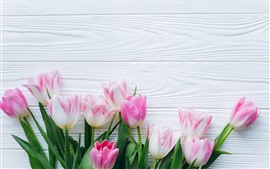 Preview wallpaper Bouquet, pink tulips, wood board